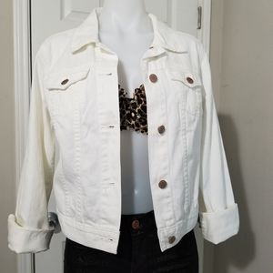 Old Navy White Cropped Denim Jean Jacket M NWT